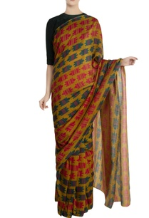green-nile-crocodile-motif-saree-with-unstitched-blouse-piece