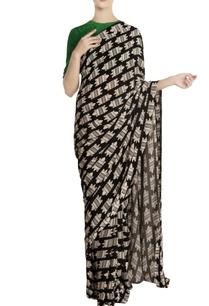 multicolored-nile-crocodile-motif-saree-with-unstitched-blouse-piece