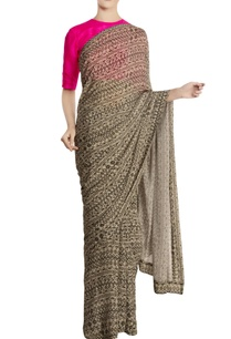 cream-black-chiffon-silk-birds-eye-printed-sari-with-blouse-piece