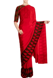 red-crepe-silk-red-sari-with-blouse-piece