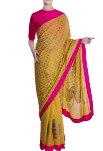 mustard-yellow-pink-border-kailash-motif-sari-with-blouse-piece