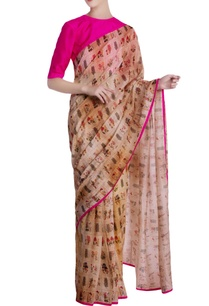 beige-burning-garden-chanderi-silk-saree-with-unstitched-blouse