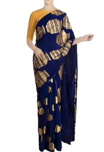 blue-crepe-silk-gold-vase-motif-sari-with-yellow-unstitched-blouse