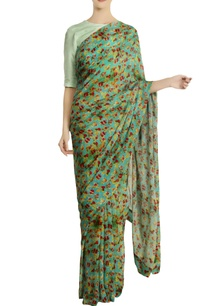 aqua-chiffon-silk-floral-saree-with-unstitched-blouse