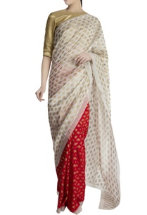 red-ivory-chanderi-silk-sari-with-brocade-blouse