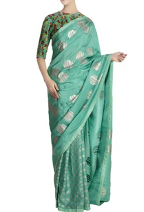 aqua-silk-kailash-tribal-vase-saree-with-unstitched-blouse