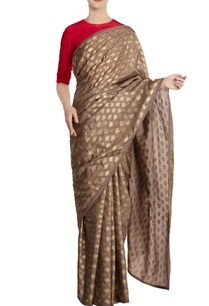 grey-kailash-khadi-saree-with-red-blouse-piece