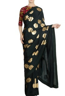 teal-crepe-silk-tribal-vase-saree-with-red-blouse-piece