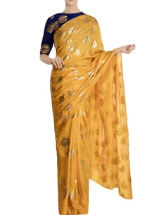 yellow-heritage-fish-printed-saree-with-blouse-piece