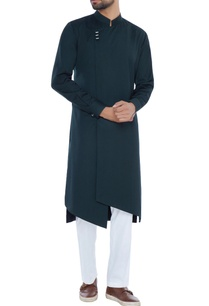 green-achkan-style-asymmetric-kurta-with-pyjama-pants