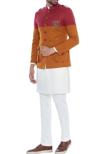 red-mustard-color-block-brushed-cotton-jacket-set