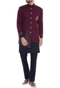 plum-asymmetric-jacket-with-kurta-pyjamas