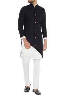 black-diagonal-cut-jacket-with-asymmetric-kurta-pants