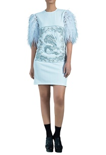 light-blue-knit-herringbone-embellished-caged-dragon-dress
