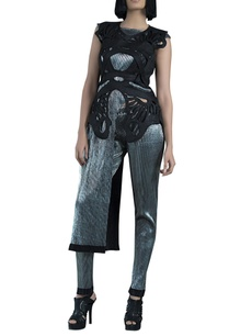silver-crinkled-lame-pleated-asymmetric-tunic-with-pegged-pants