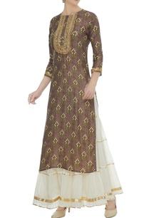 brown-cotton-silk-zari-sequin-work-kurta-with-off-white-chanderi-sharara