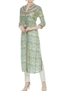 green-viscose-gota-patti-work-front-open-jacket-style-kurta