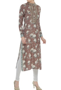 brown-satin-slub-dori-mirror-work-straight-cut-kurta