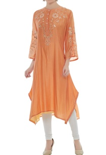 orange-viscose-dori-work-asymmetric-kurta