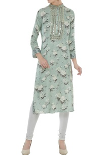 teal-blue-satin-slub-dori-mirror-work-straight-cut-kurta