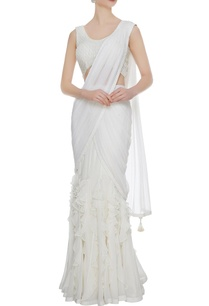 ivory-georgette-tulle-ruffled-pre-stitched-lehenga-sari-with-embellished-blouse