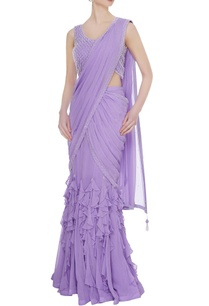 lilac-georgette-tulle-ruffled-pre-stitched-lehenga-saree-with-embellished-blouse