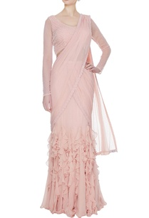 peach-georgette-tulle-ruffled-pre-stitched-lehenga-saree-with-embellished-blouse