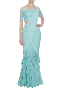 mint-blue-georgette-tulle-ruffled-pre-stitched-lehenga-saree-with-blouse