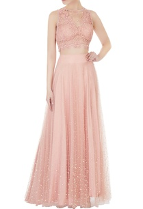 peach-lace-net-blouse-with-pearl-lehenga