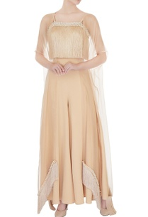 beige-organza-georgette-fringe-top-with-organza-cape-pants