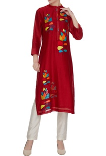 red-chanderi-silk-floral-patchwork-embroidered-sequins-tunic