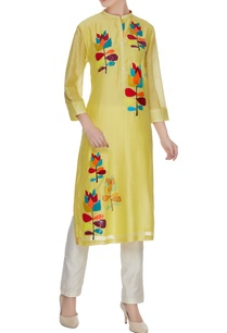 mellow-yellow-chanderi-silk-floral-patchwork-kurta