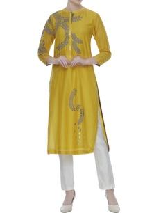 mustard-yellow-cotton-silk-floral-wine-motif-dori-work-tunic