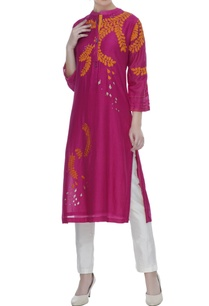 fuschia-pink-cotton-silk-floral-wine-motif-dori-work-tunic