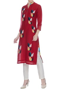 red-cotton-silk-multi-colored-floral-patch-worktunic