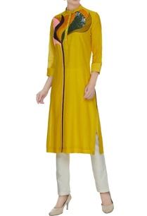 mustard-yellow-cotton-silk-kurta-in-floral-patchwork