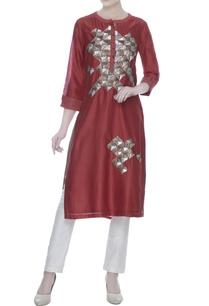 red-silk-chanderi-hand-embroidered-work-tunic