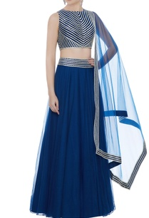 teal-blue-silk-crepe-net-hand-embroidered-blouse-with-lehenga-dupatta