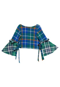 forest-green-cotton-chequered-crop-top-with-bell-sleeves