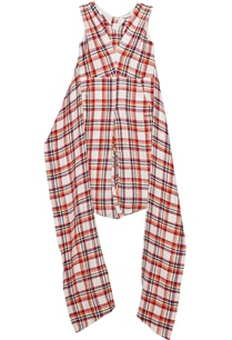 tomato-red-cotton-chequered-jumpsuit