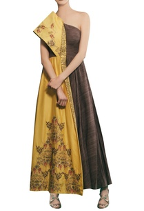 tonic-yellow-chanderi-hand-embroidered-one-shoulder-gown