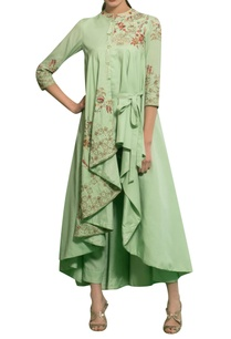spring-green-rayon-moss-knot-hand-embroidered-draped-cape-with-pants