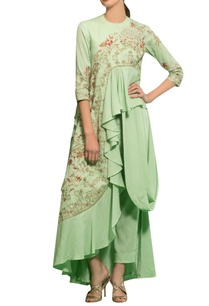 spring-green-rayon-moss-hand-embroidered-draped-kurta-set