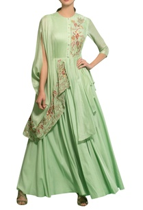 spring-green-rayon-moss-chanderi-hand-embroidered-cape-gown