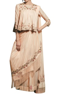 peach-chanderi-silk-hand-embroidered-draped-saree-with-peplum-blouse