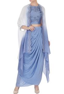 periwinkle-blue-habotai-silk-silk-chanderi-zardozi-work-draped-skirt-with-crop-top-zardozi-draped-jacket
