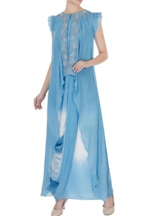 ash-blue-zardozi-work-asymmetrical-top-with-draped-dhoti-skirt