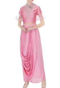 pink-silk-chanderi-habotai-silk-honeycomb-embroidery-crop-top-with-draped-dhoti-skirt-applique-waistband