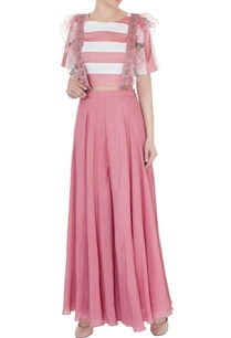 dull-pink-silk-chanderi-crepe-applique-embroidered-dungarees-with-striped-crop-top