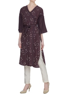 wine-organic-poplin-sparrow-print-angrakha-with-frilled-sleeves-belt